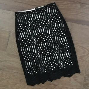 NWT Gorgeous Cream and Black Lace Skirt